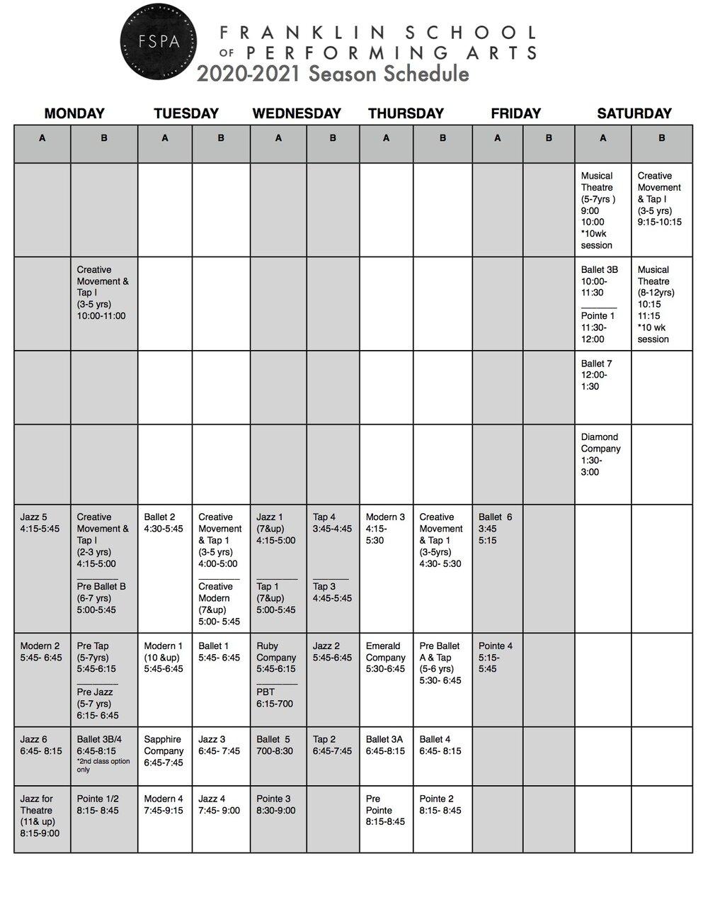 2020 2021 Schedule — Franklin School Of Performing Arts Pertaining To Davidson County Tn School Calendar 2021