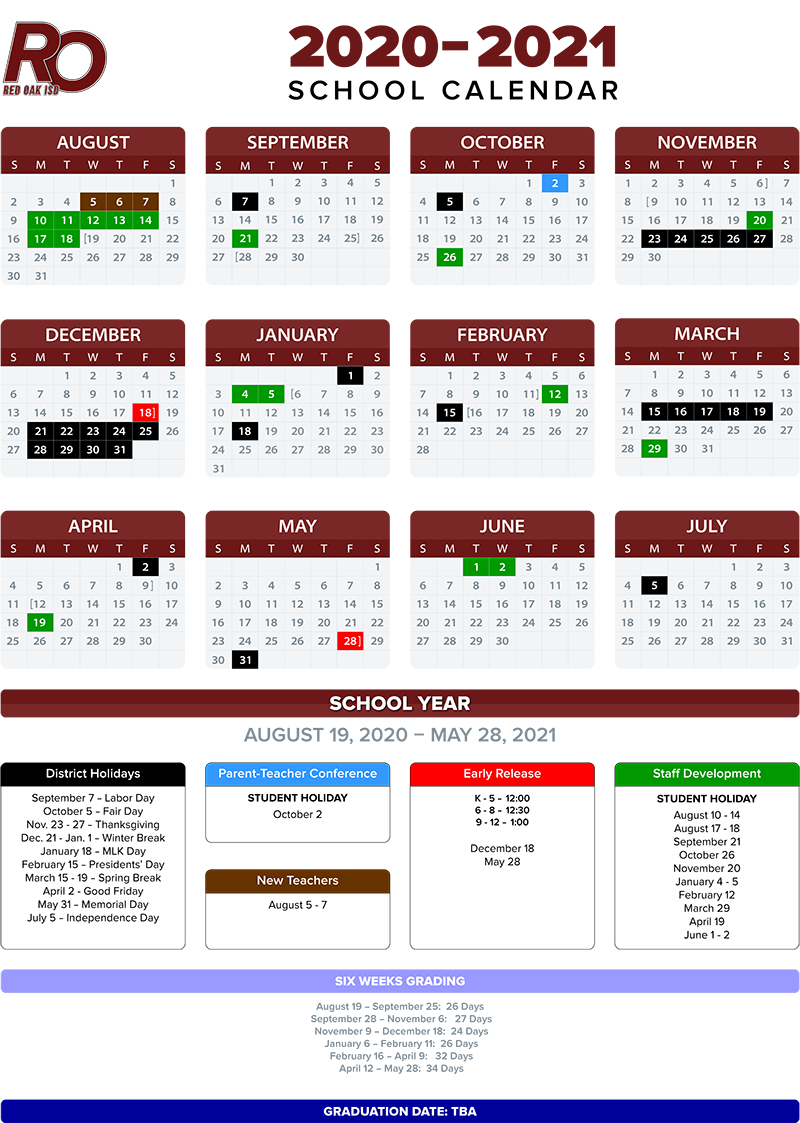 2020-2021 School Calendar / Annual Calendar - 2020-2021 throughout William And Mary 2021 20 Calendar