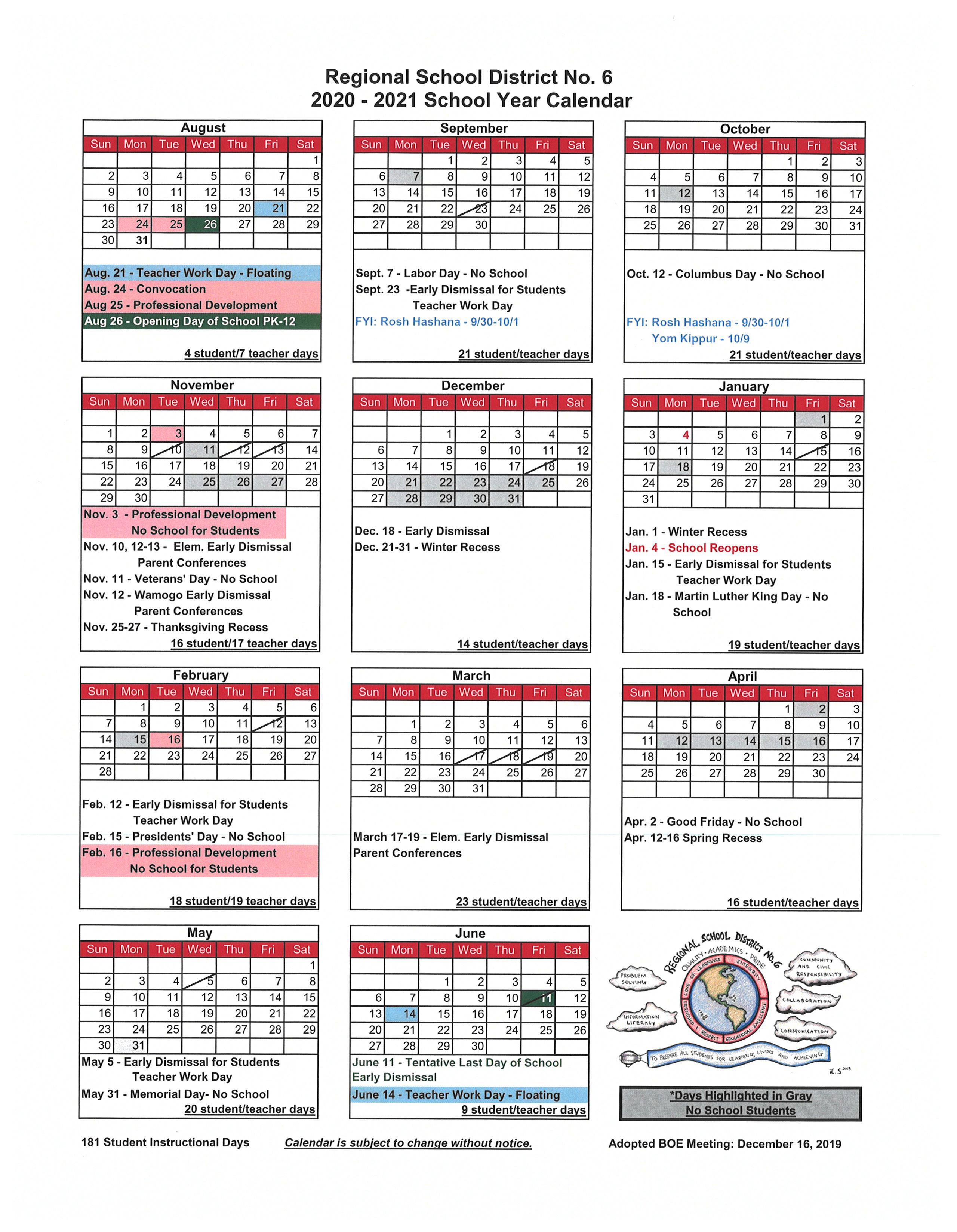 2020 2021 School Calendar - Regional School District No. 6 In Bridgewater State University Calendar 2021