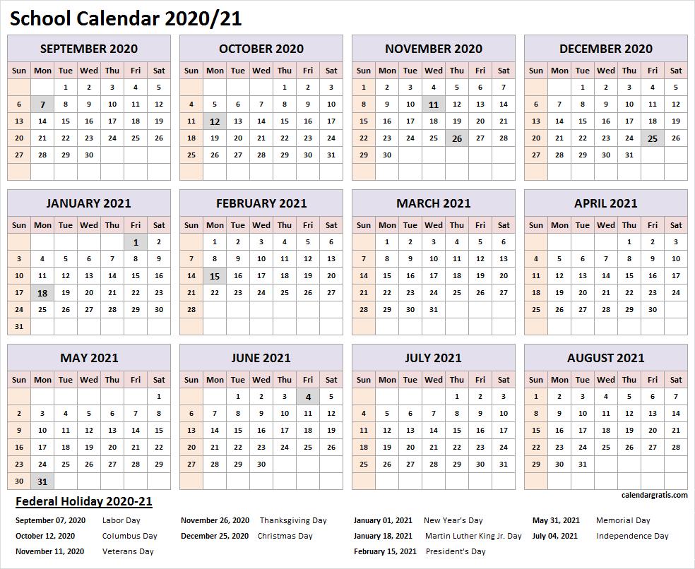 2020-2021 School Calendar Template In 2020 | School Calendar in Printable 2020 2021 School Calendar