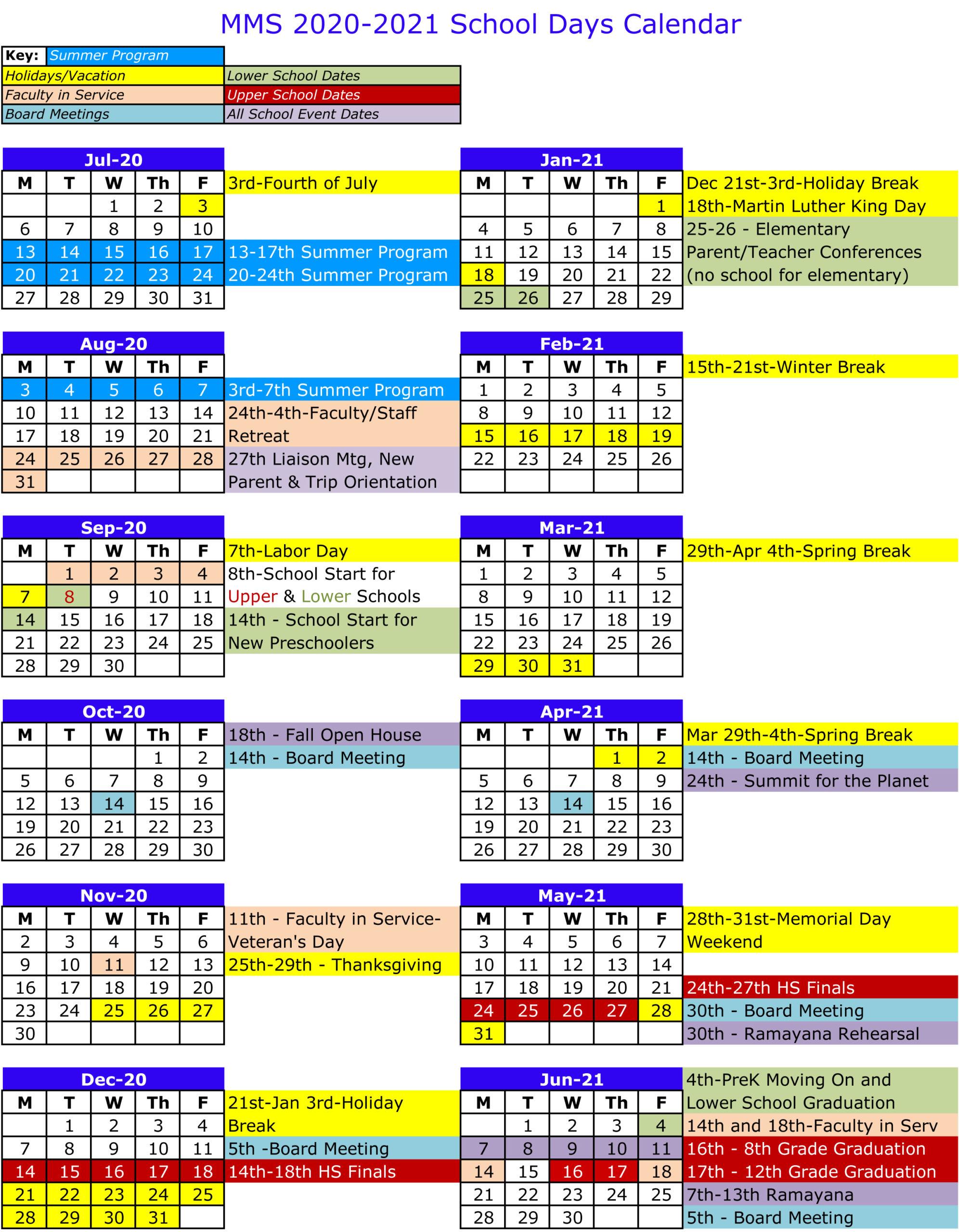 2020 2021 School Days Calendar – Mount Madonna School Intended For Gilroy Unified School District Calendar 2021