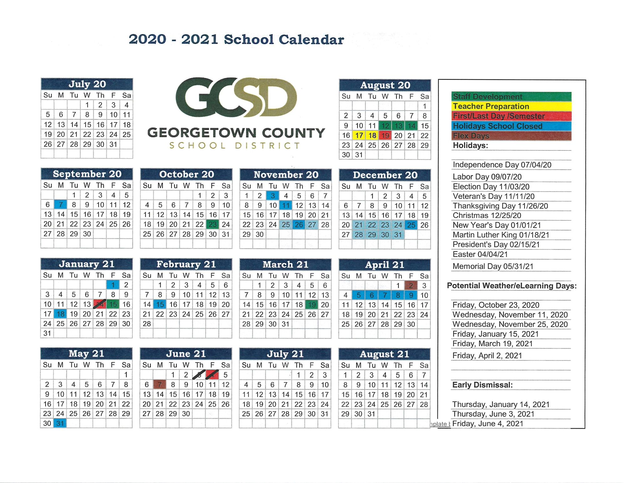 2020-2021 School Year Calendar - Georgetown County School pertaining to Georgetown County School District Calendar