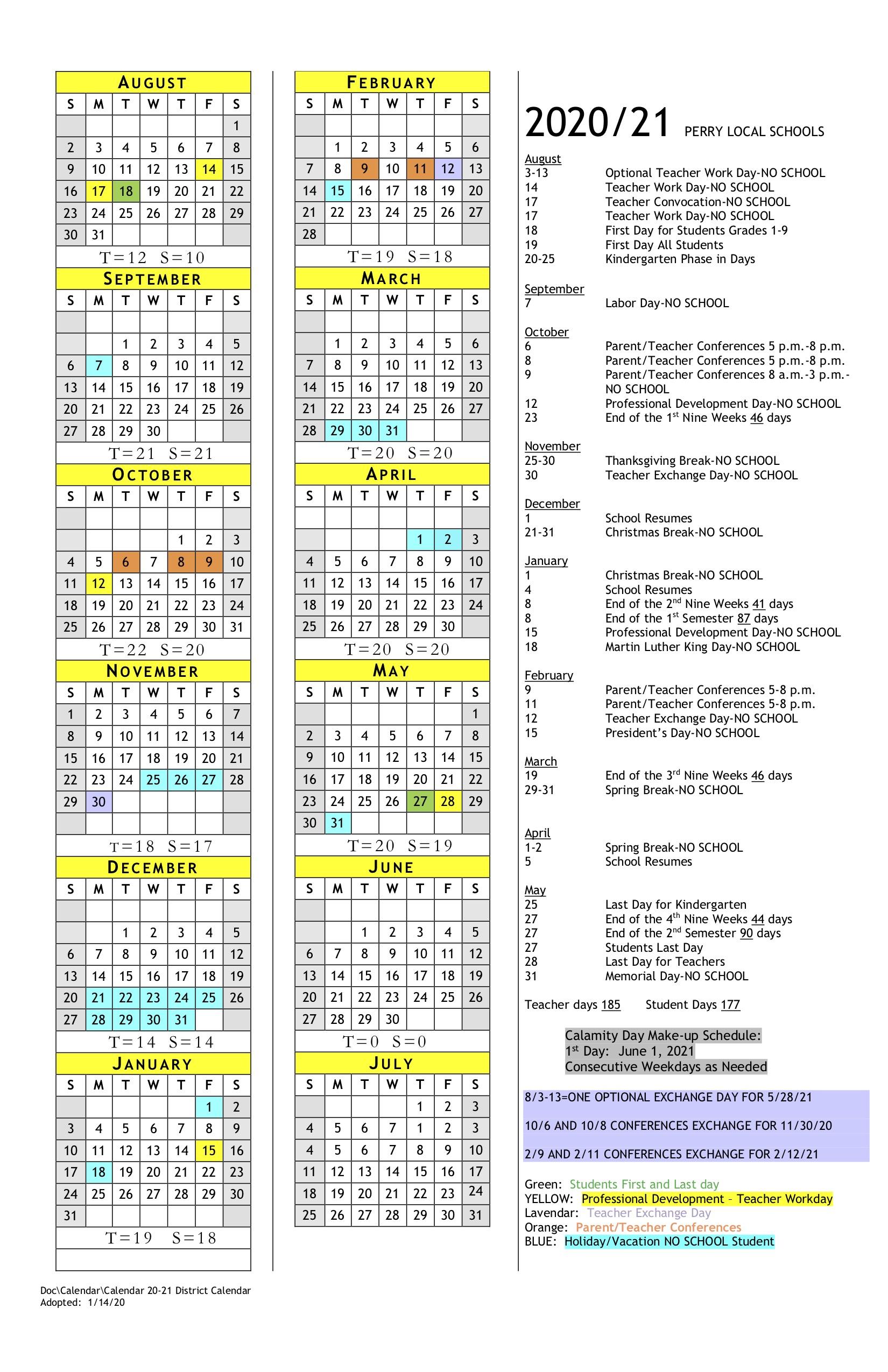 2020-2021 School Year District Calendar - Perry Athletics regarding Ohio County Schools Calendar 2020-2021 Wheeling