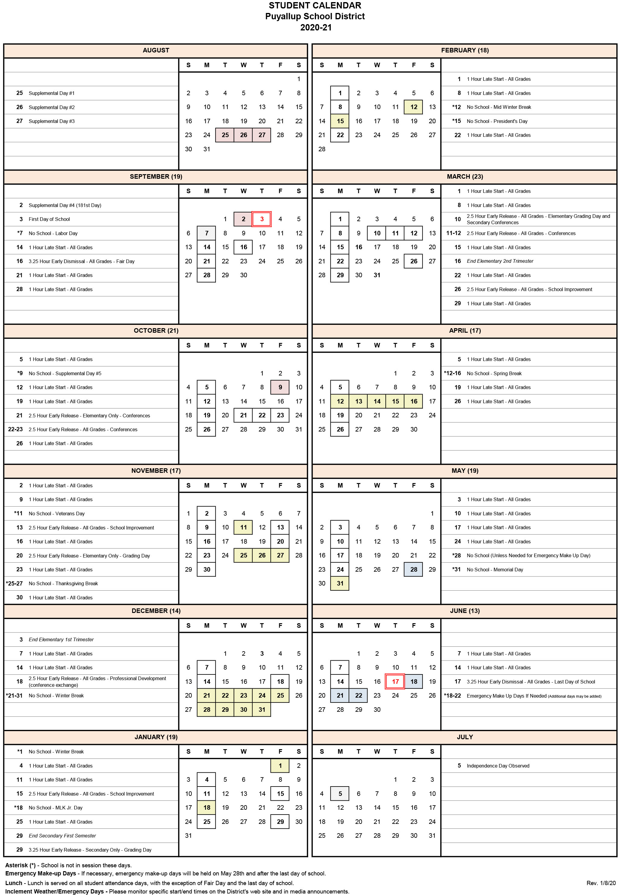 2020 2021 Student Calendar Approved - Puyallup School District With Post Falls High School Calendar