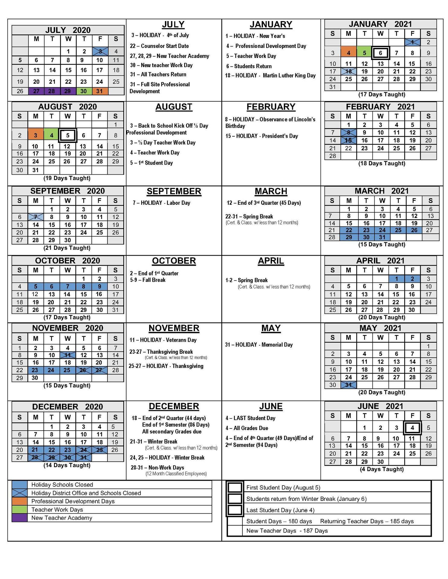 2020 21 School Calendars – Academic Calendars – Monterey In Gilroy Unified School District Calendar 2021