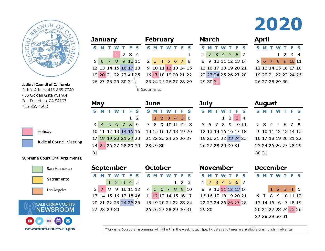 2020 California Courts Calendar | California Courts Newsroom within Los Angeles Superior Court Calendar