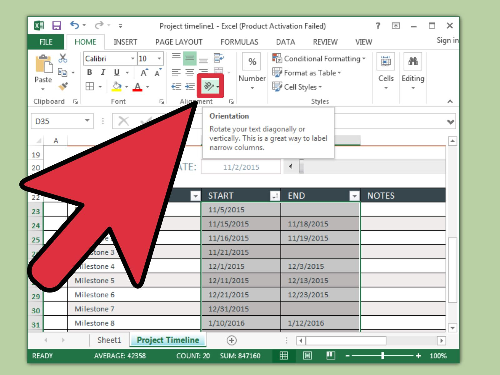 3 Ways To Create A Timeline In Excel – Wikihow Pertaining To Convert Excel Spreadsheet To Calendar