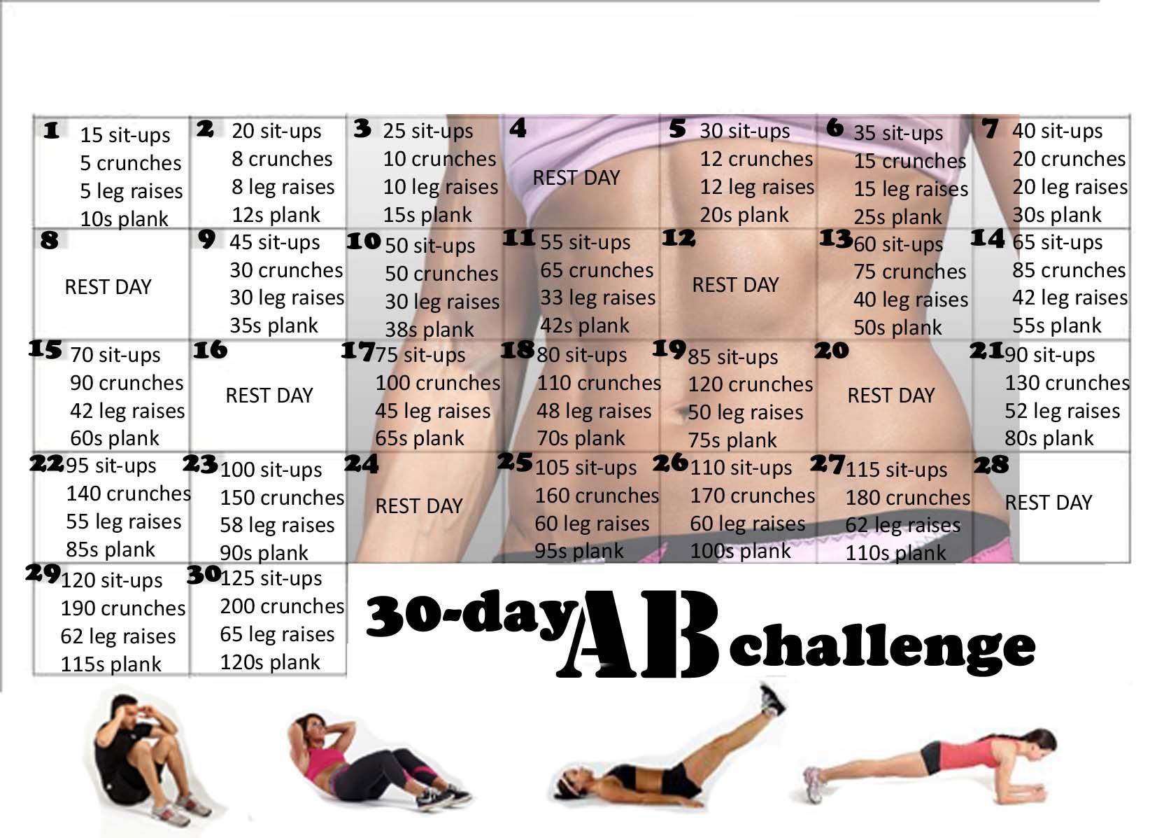 30 Day Ab Challenge   30 Day Ab Challenge, 30 Day Abs, Ab With 30 Day Abs Challenge Printable