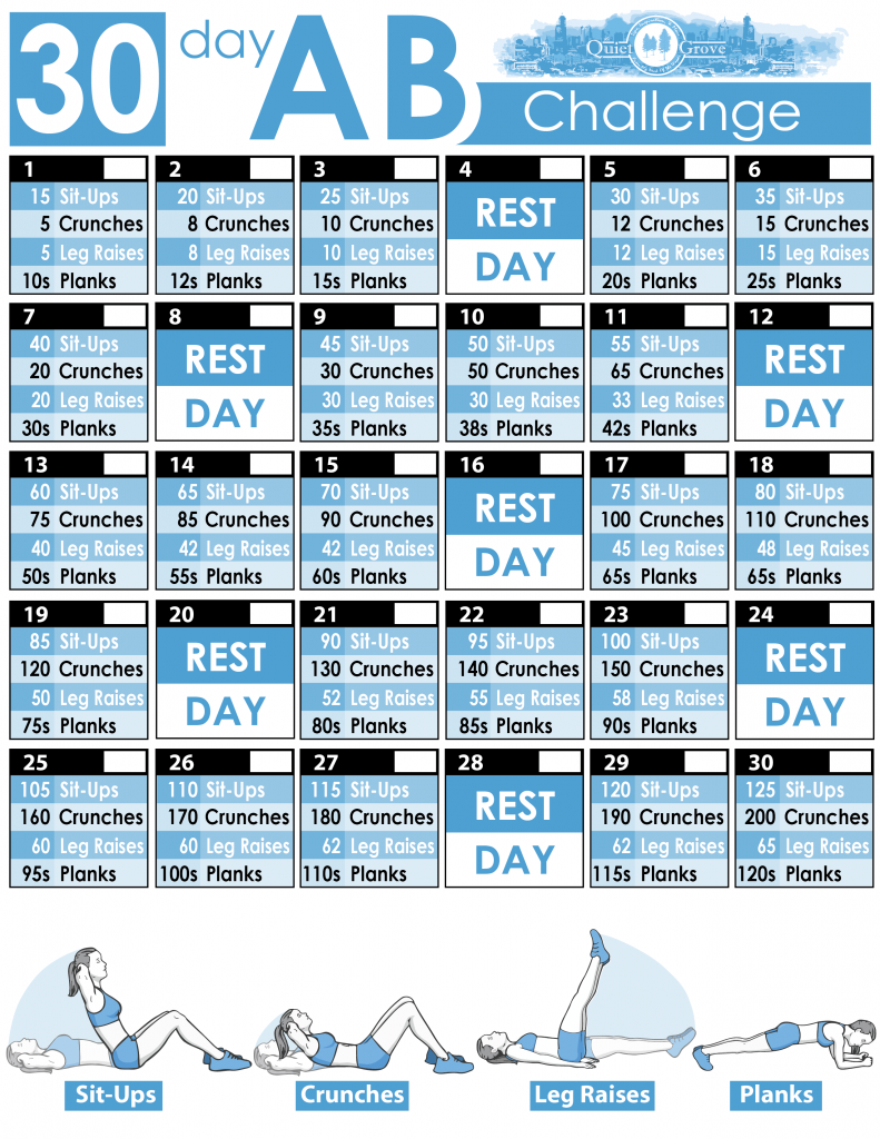 30 Day Ab Challenge (With Free Printable) ⋆ The Quiet Grove Throughout 30 Day Push Up Challenge Printable Pdf