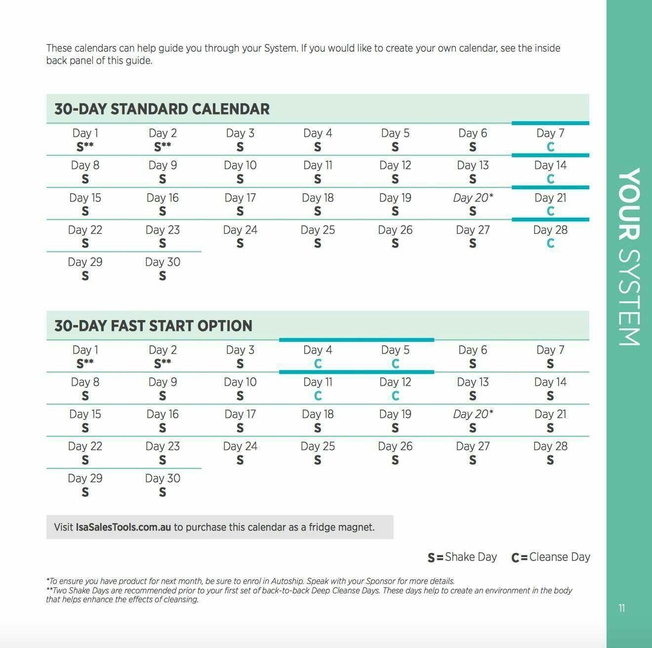 30 Day Calendar   Isagenix, Create Your Own Calendar In Isagenix Shake Day Schedule Printable