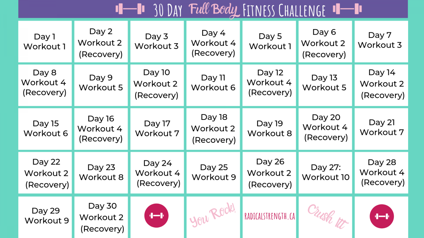 30 Day Fitness Challenge: Full Body Workout Routines Within 30 Days Squat Challenge Calendar