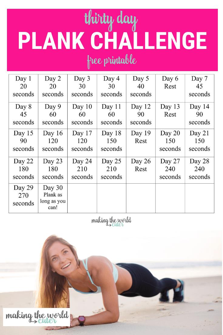 30 Day Plank Challenge Chart With 30 Day Leg Challenge Printable