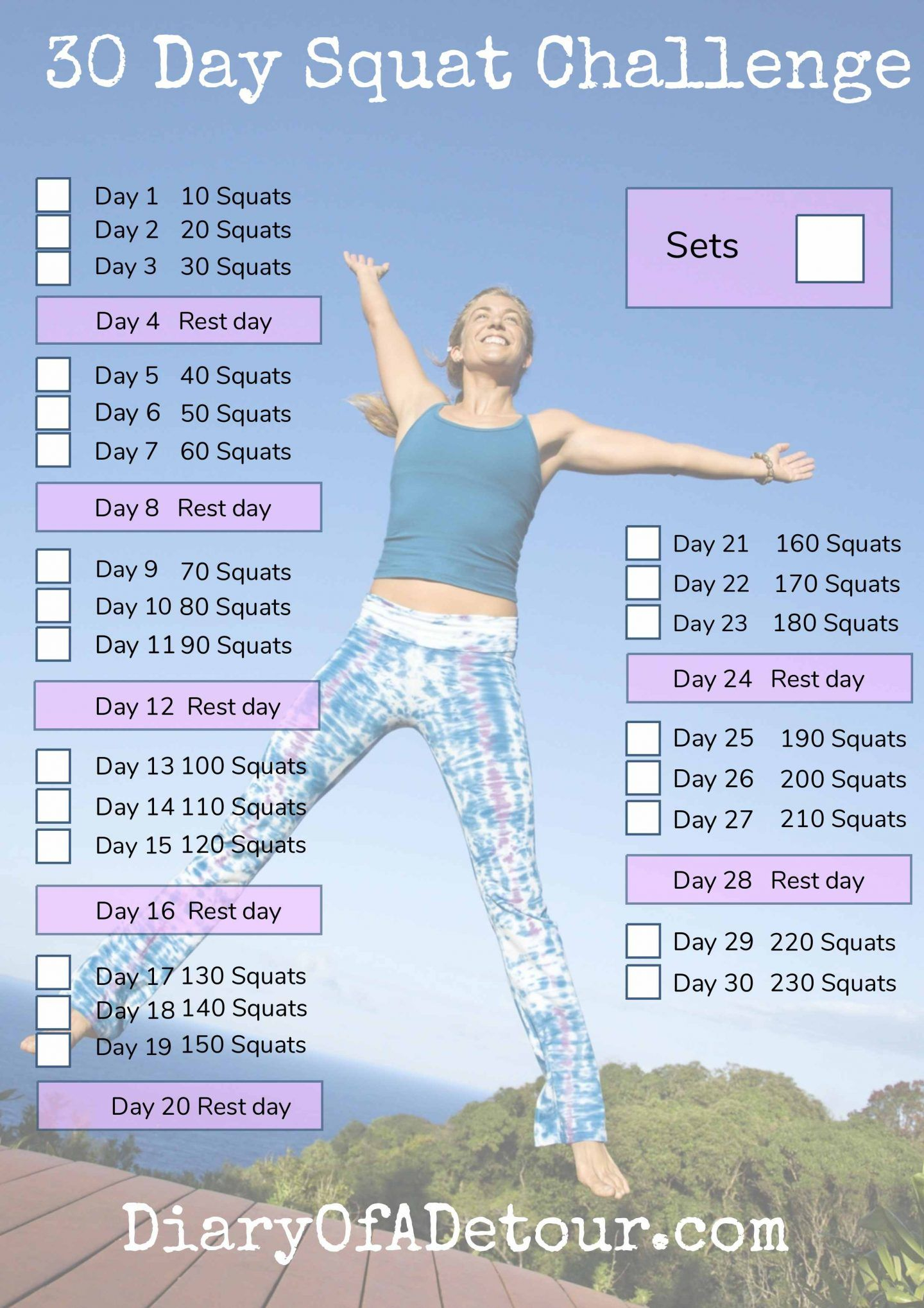 30 Day Squat Challenge : A Fitness Challenge For All intended for 30 Day Squat Challenge Printable