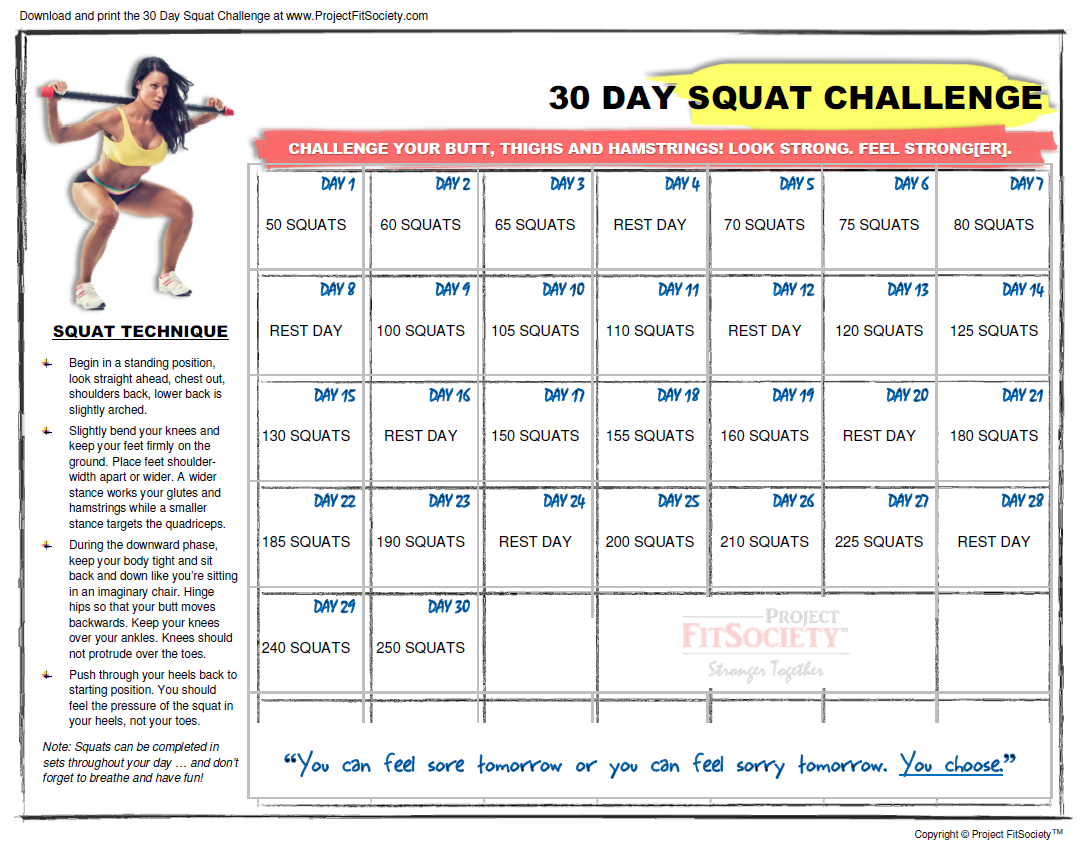 30-Day Squat Challenge Calendar | Click Here To Download The in 30 Days Squat Challenge Calendar
