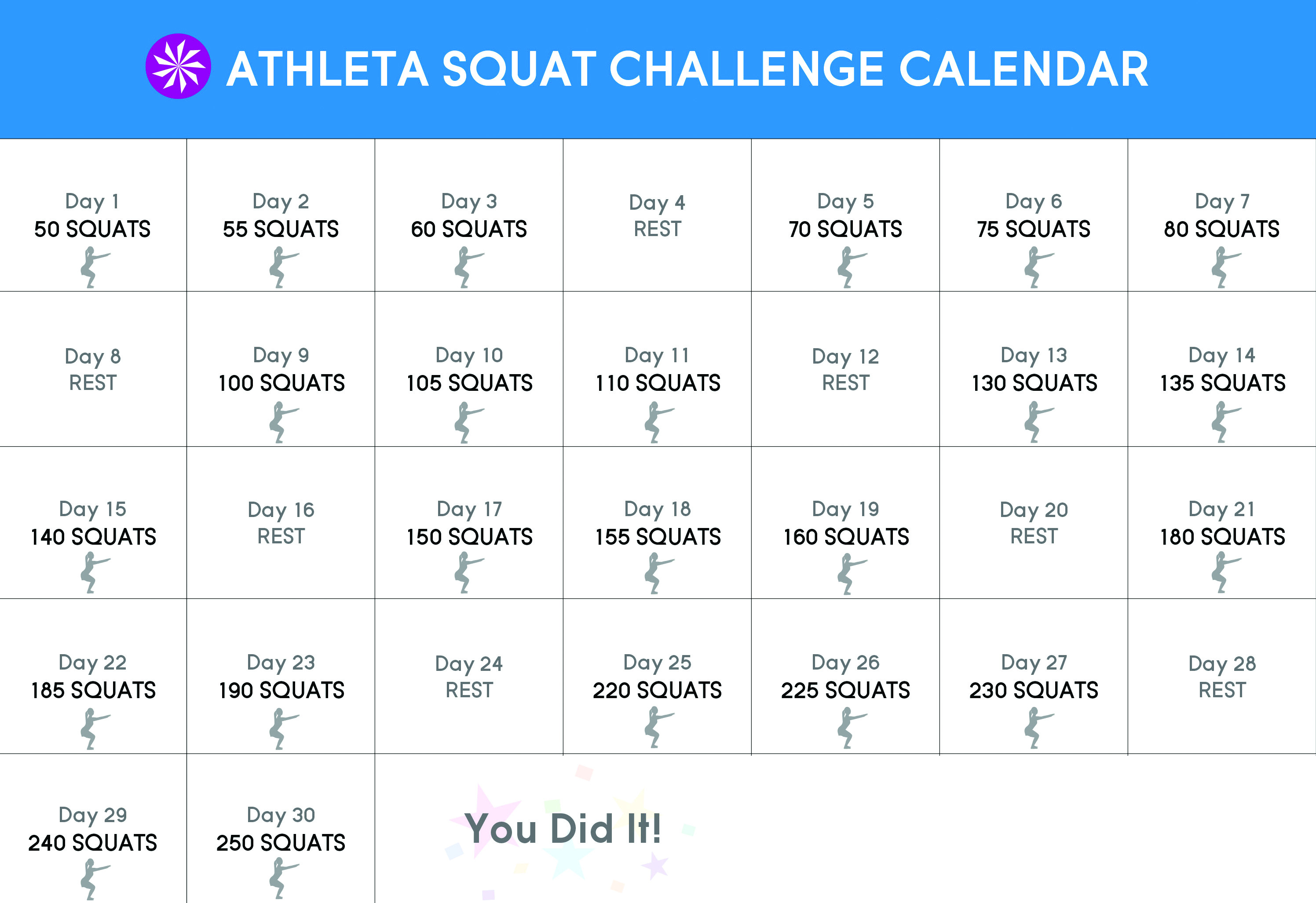 30 Day Squat Challenge – Chi Blog With Regard To 30 Days Squat Challenge Calendar