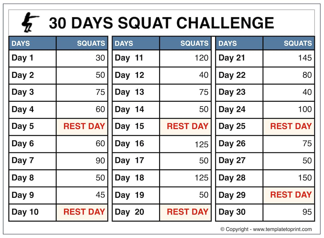 30 Day Squat Challenge For Beginners » Template To Print With 30 Day Squat Calender