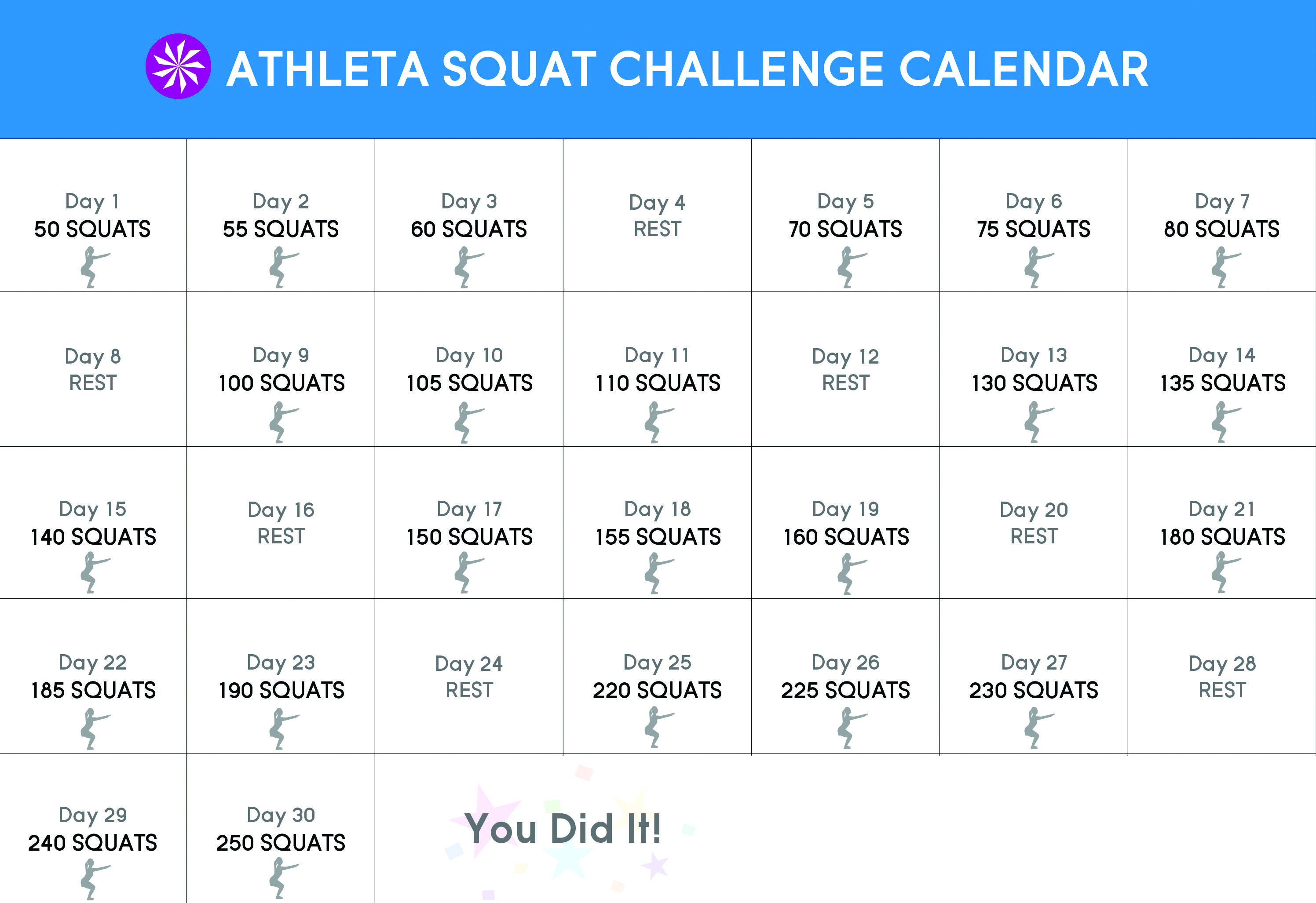 30 Day Squat Challenge Lets Get This Going! (From The Blog Throughout 30 Day Squat Challenge Schedule Calendar