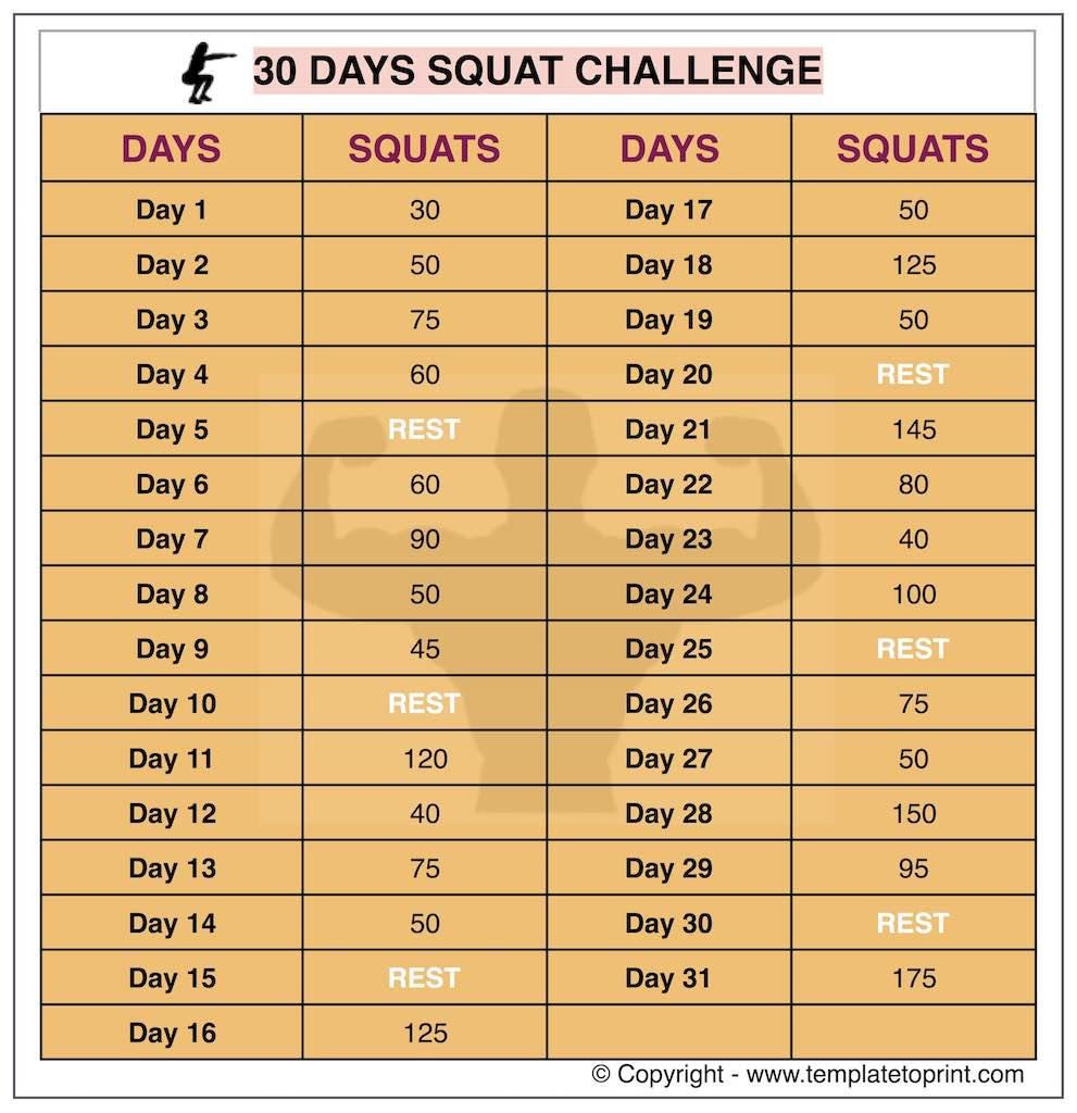30 Day Squat Challenge Printable Calendar   Squat Workout At For 30 Day Squat Challenge Schedule Calendar