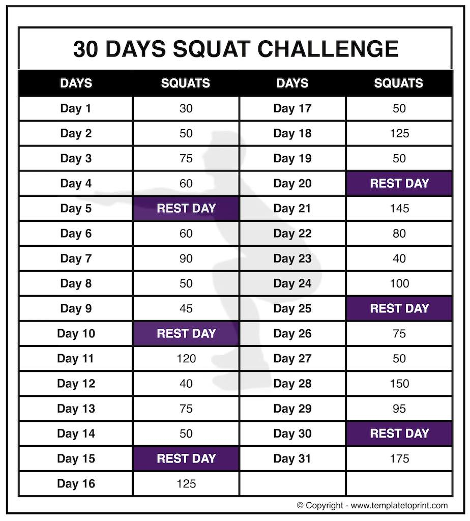 30 Day Squat Challenge Printable Calendar » Template To Print Intended For 30 Day Squat Calender