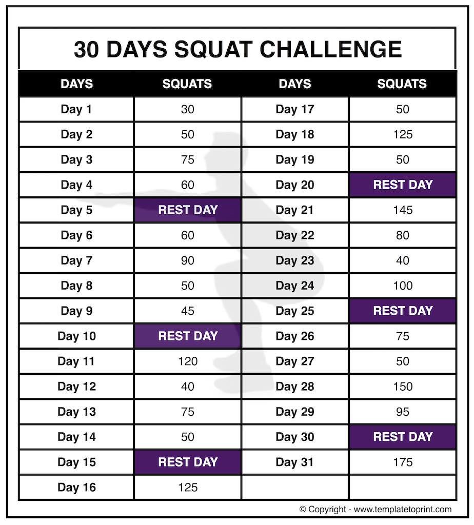 30 Day Squat Challenge Printable Calendar » Template To Print Within 30 Days Squat Challenge Calendar