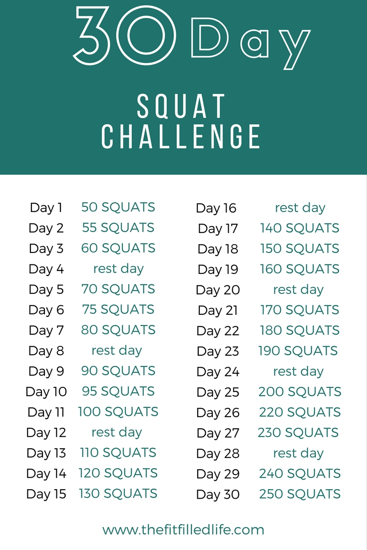 30 Day Squat Challenge   The Fitfilled Life Pertaining To 30 Day Squat Challenge Schedule Calendar