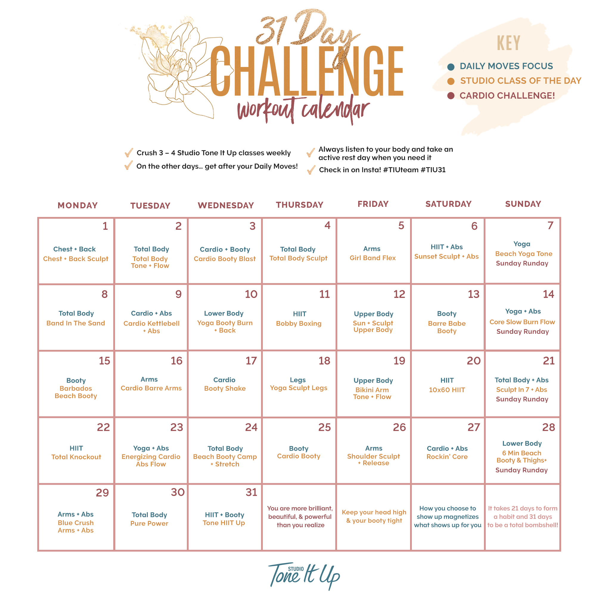 31 Day Challenge Week 1 Workout Schedule – Toneitup With 30 Day Fitness Challenge Calendar