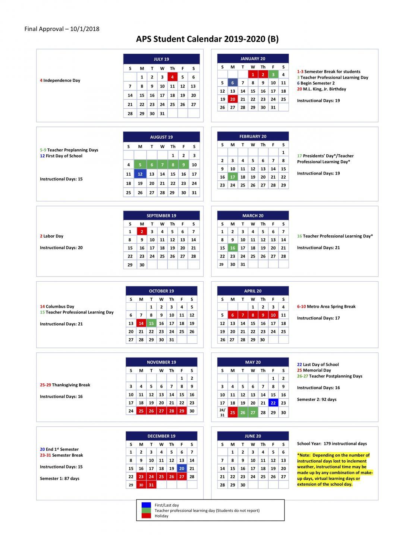 5.02 Student Calendars For School Years 2019 2020, 2020 2021 For Fayette County Georgia School Calendar