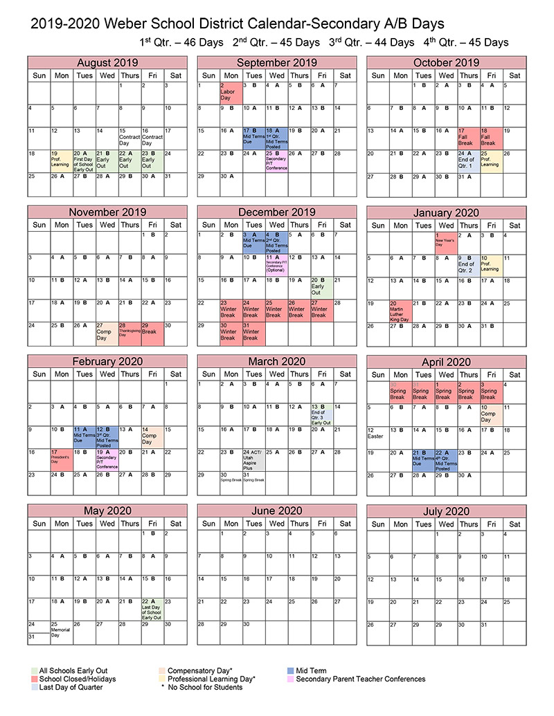 A/b Calendar Within North Canyon High School Calendar
