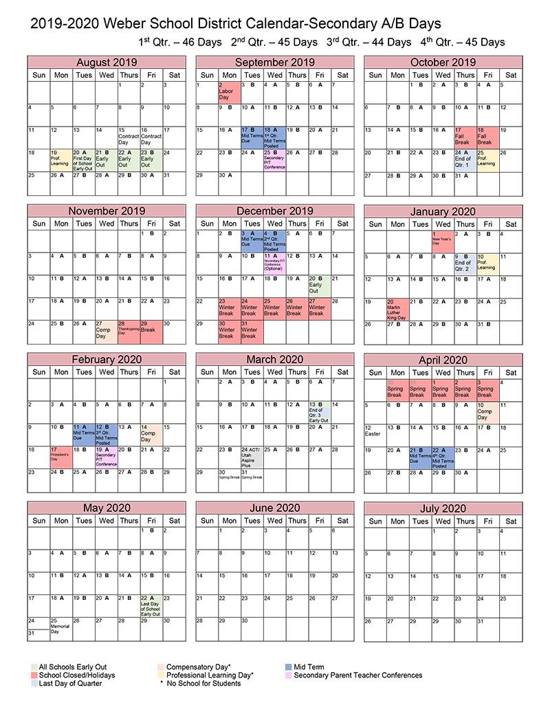 A/b Calendar within Weber County School Calendar 20
