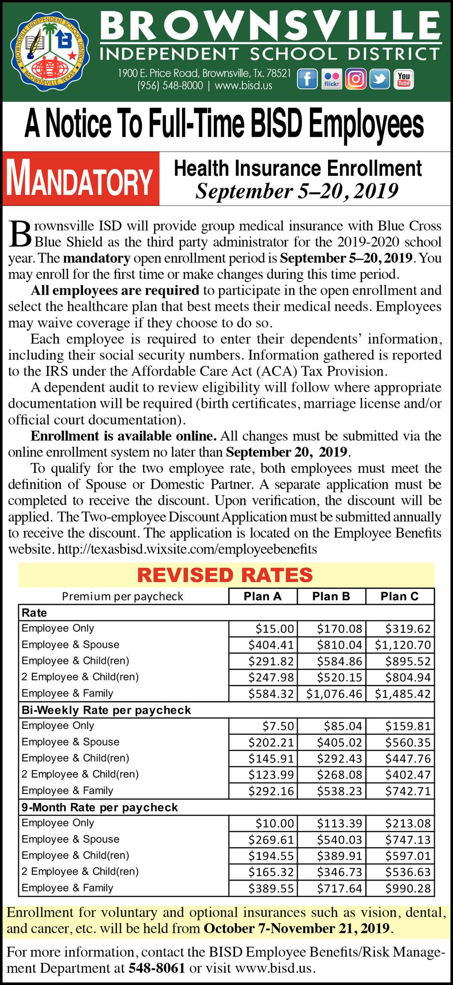 A Notice To Full Time Bisd Employees, Brownsville Inside Brownsville Texas Bisd Calendar 2021 2020
