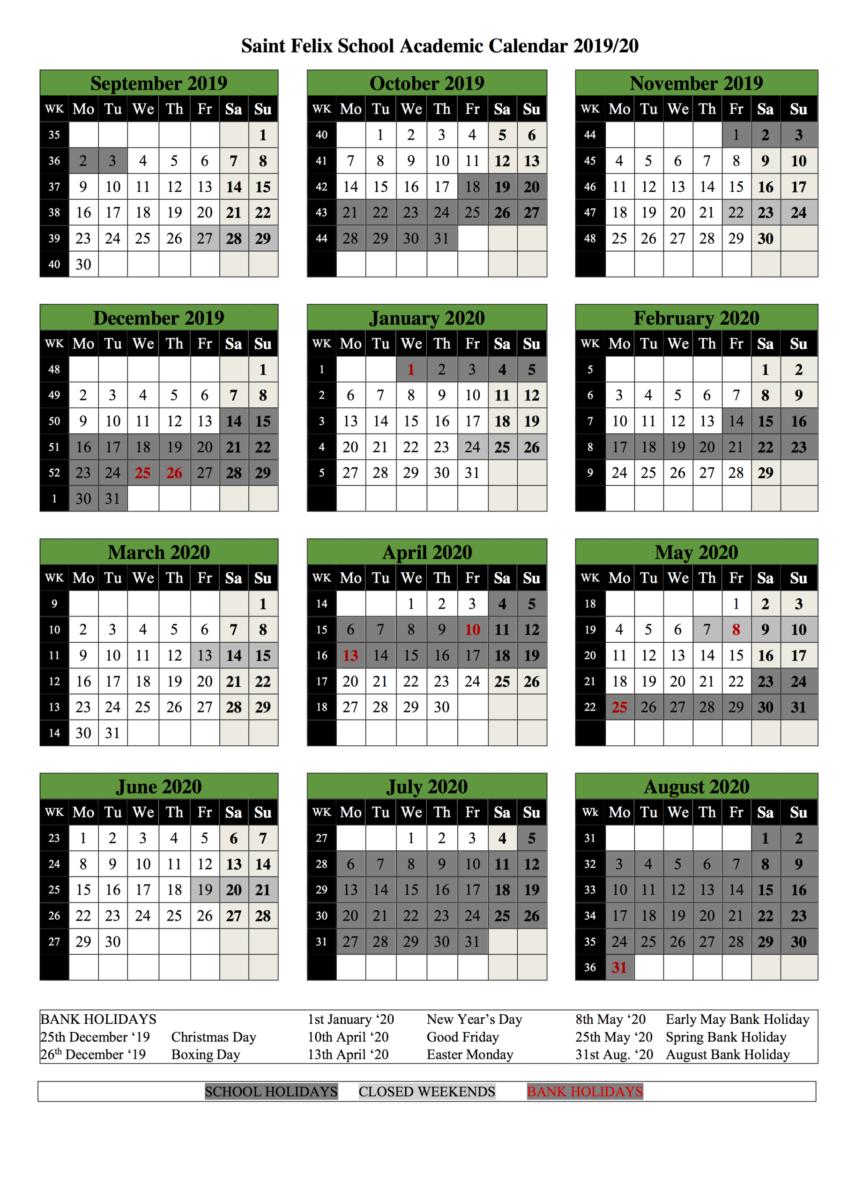 Academic Calendar 2019 - 2020 - St Felix With Saint Rose Academic Calendar