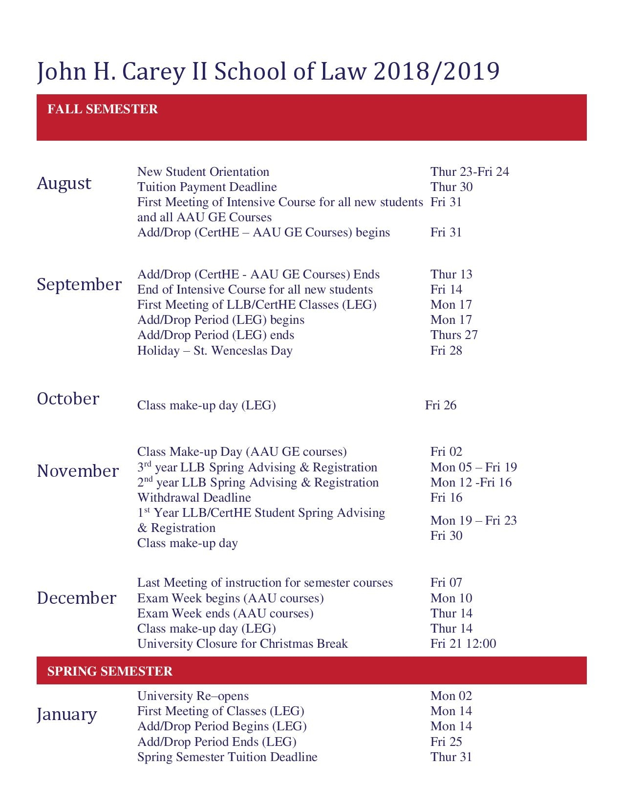 Academic Calendar - Anglo American University In Prague For St Charles Community College Calendar