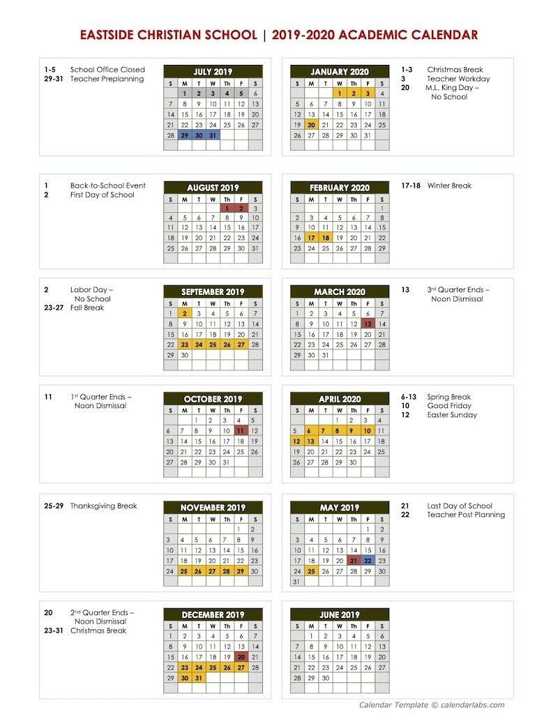 Academic Calendar   Eastside Christian School   East Cobb For Gsu Academic Calendar 2021
