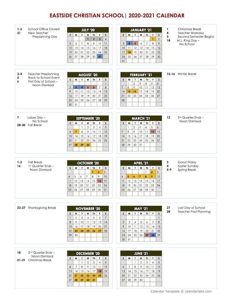 Academic Calendar   Eastside Christian School   East Cobb In Gsu Academic Calendar 2021