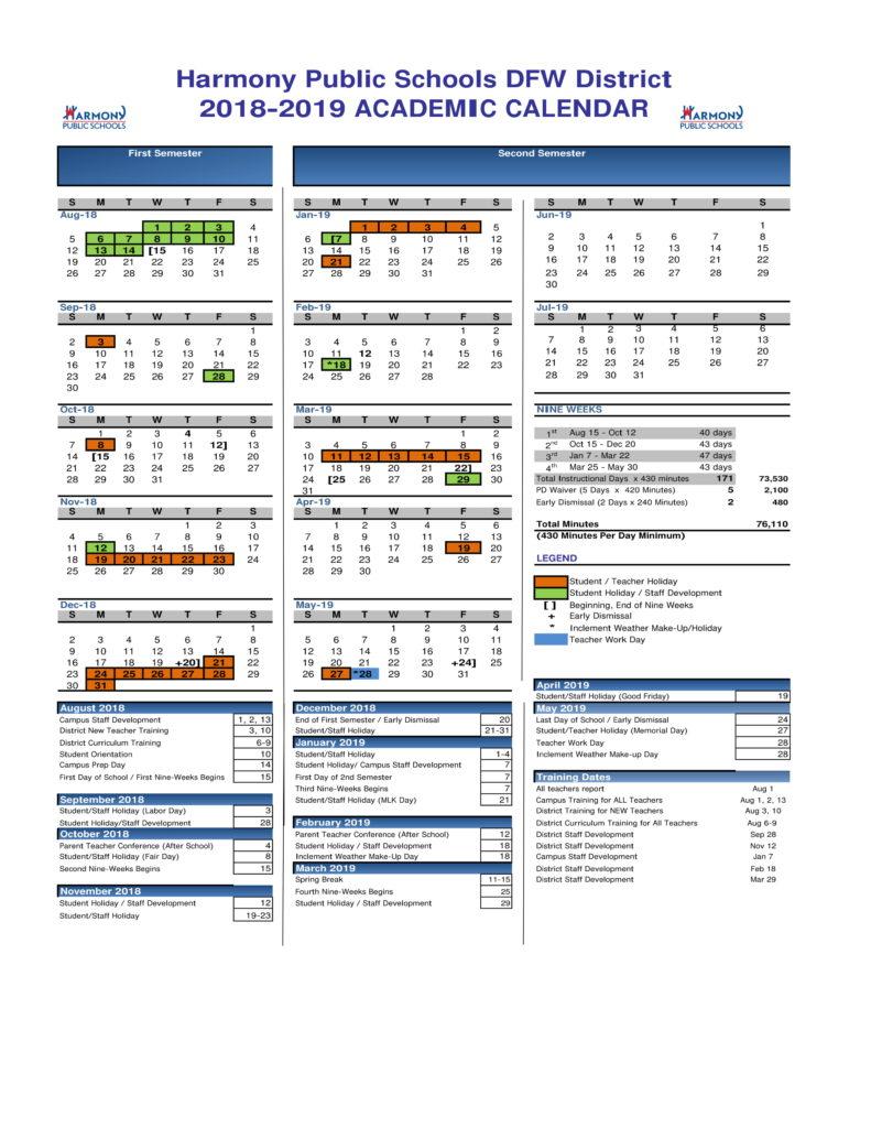 Academic Calendar – Harmony School Of Excellence – Dallas Pertaining To Sam Houston Academic Calendar