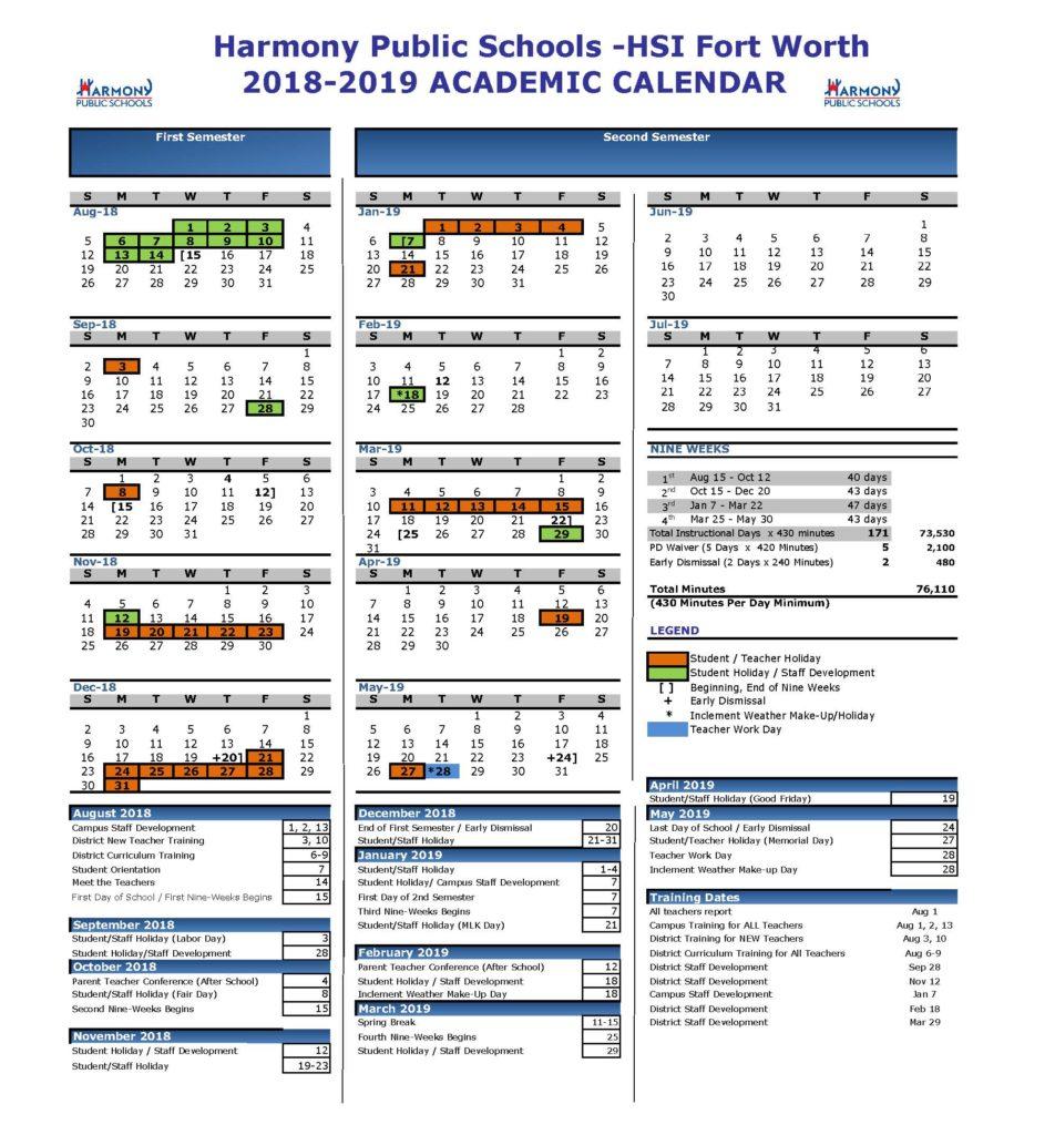 Academic Calendar – Harmony School Of Innovation – Fort Worth Regarding Fort Worth Isd Calendar