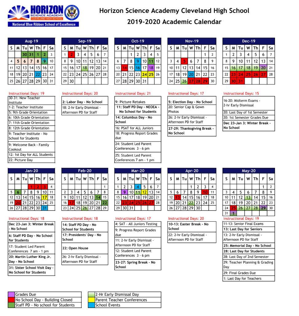 Academic Calendar – Horizon Science Academy Cleveland High Within Kent State University Academic Calendar 2021