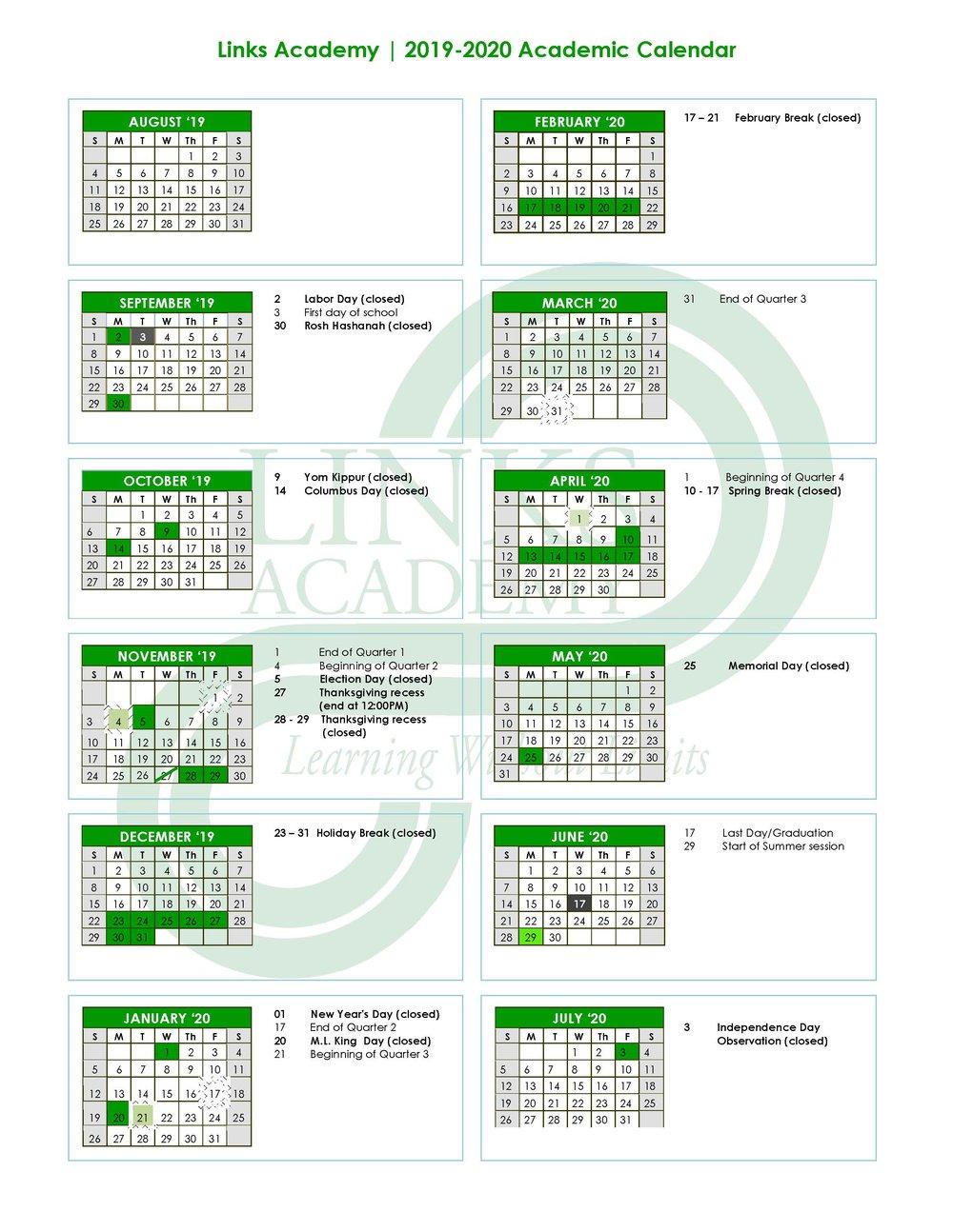 Academic Calendar — Links Academy Regarding Queensborough Community College Academic Calendar