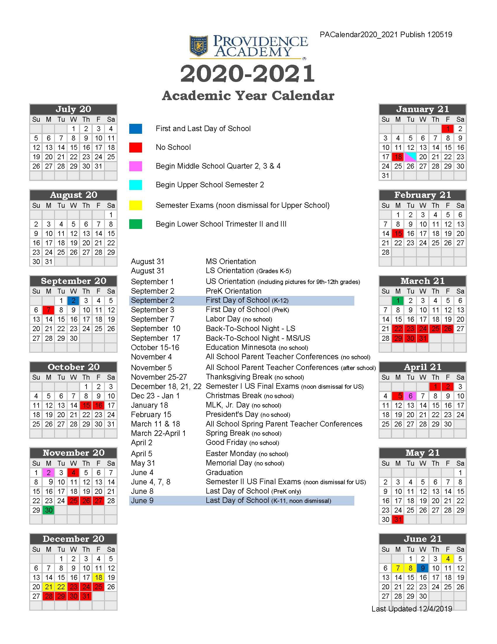 Academic Calendar - Providence Academy in University Of Minnesota2020-2021 Academic Calendar
