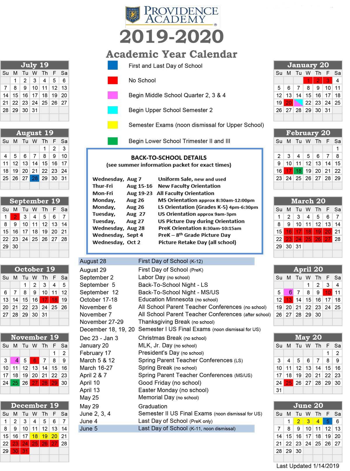 Academic Calendar - Providence Academy Pertaining To Calendar For University Of Minnesota Twin Cities Campus