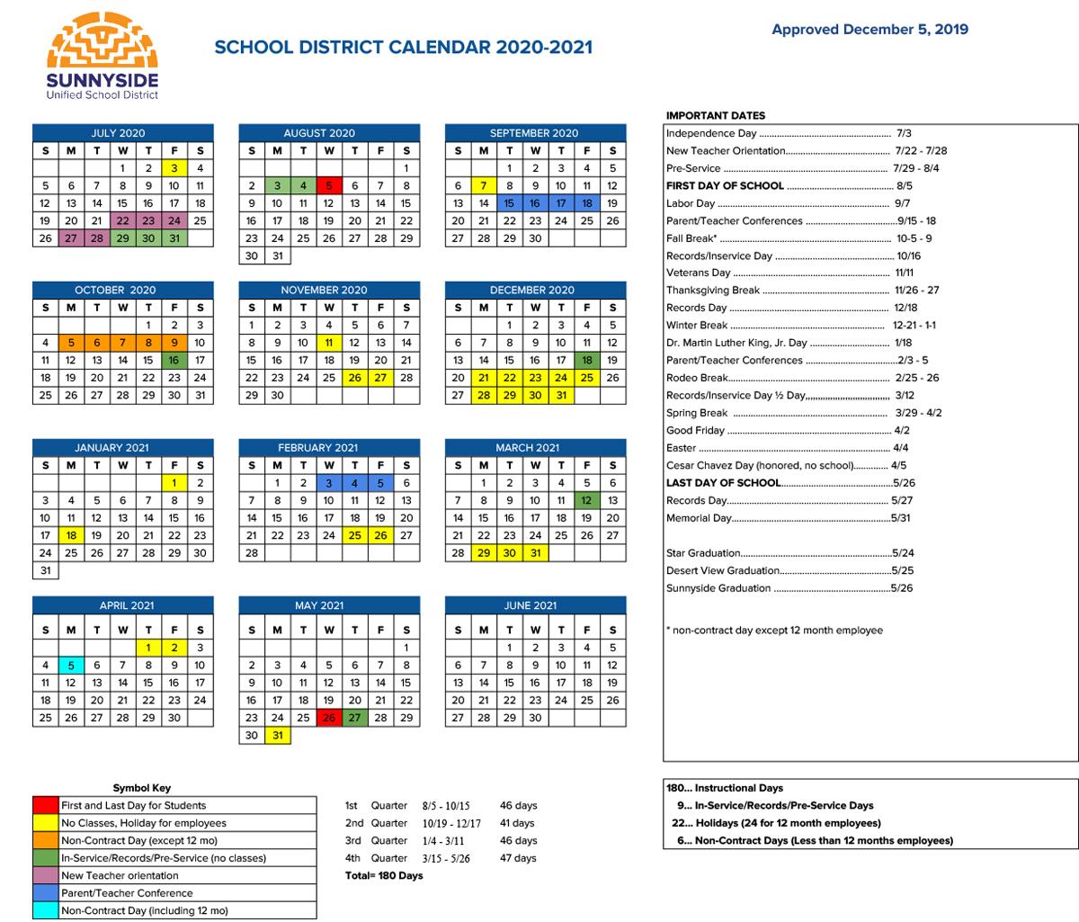Academic Calendar | Sunnyside Unified School District Inside La Habra High School Year Calendar