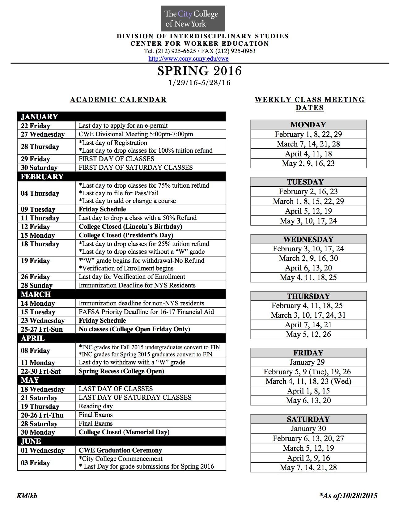 Academic Calendar | The City College Of New York in Cllege Of Staten Island Calendar