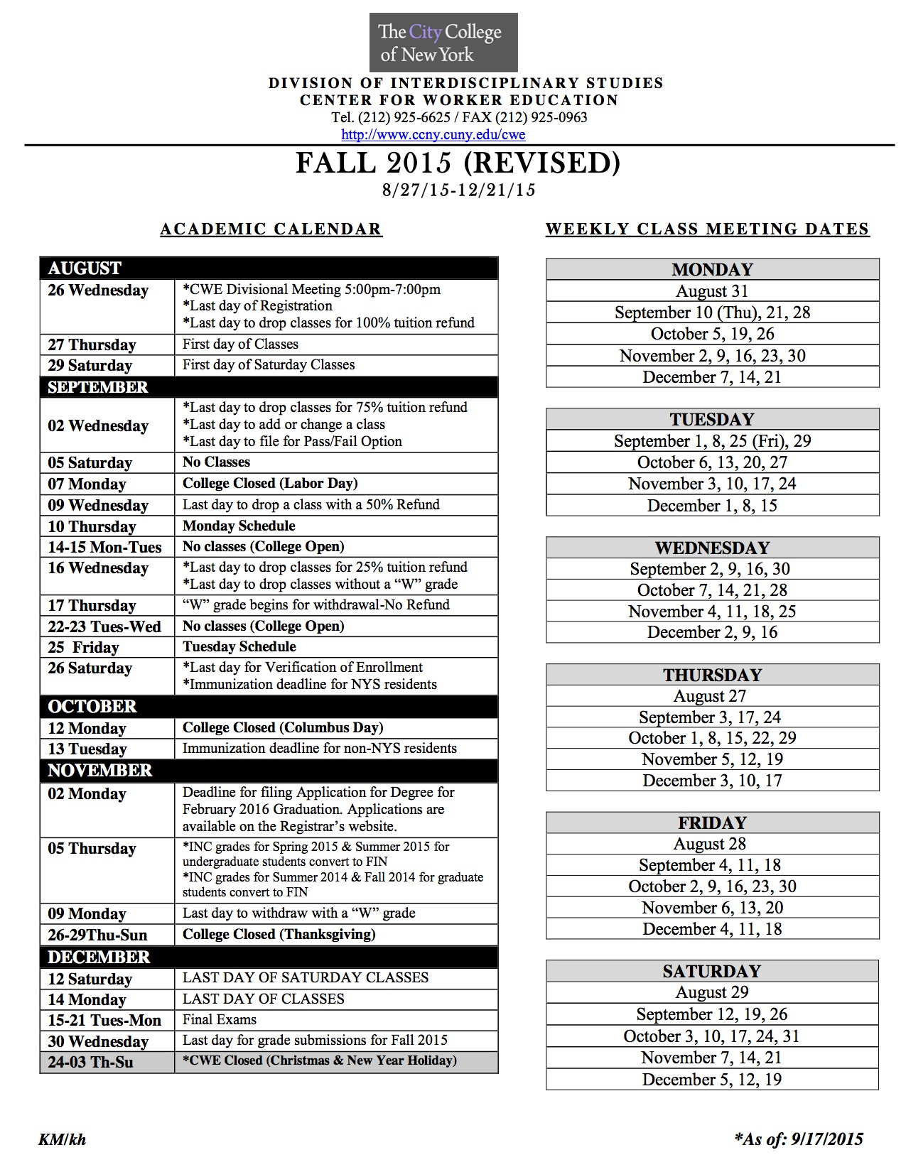 Academic Calendar | The City College Of New York Within Naugatuck Valley Community College Calendar