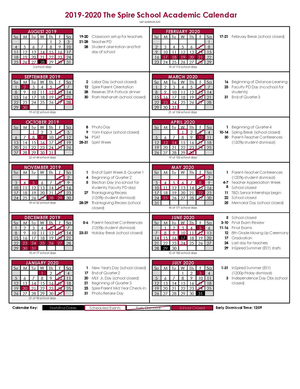 Academic Calendar — The Spire School For Academic Calender For Middlesex County College For 2021