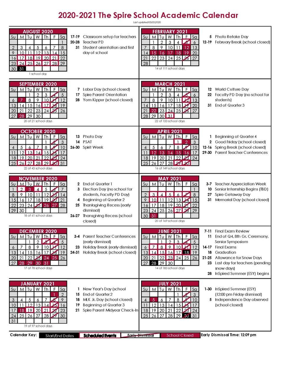 Academic Calendar — The Spire School Regarding College Of Staten Island Spring 2021 Calendar