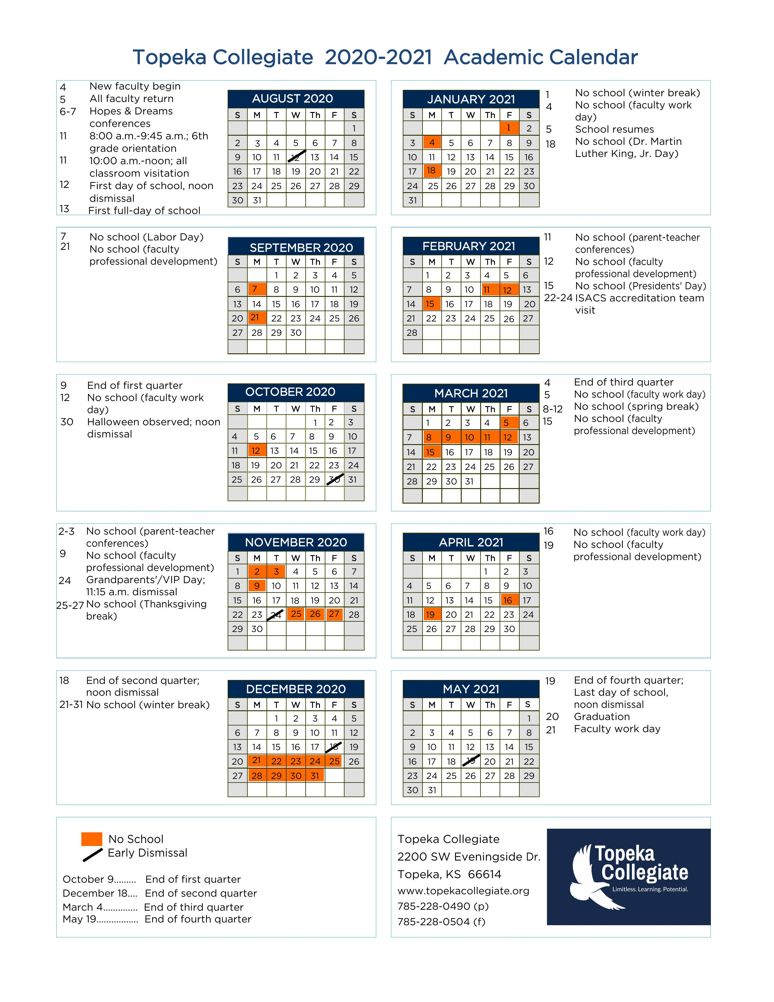 Academic Calendar - Topeka Collegiate School Inside Topeka West High School Calendar