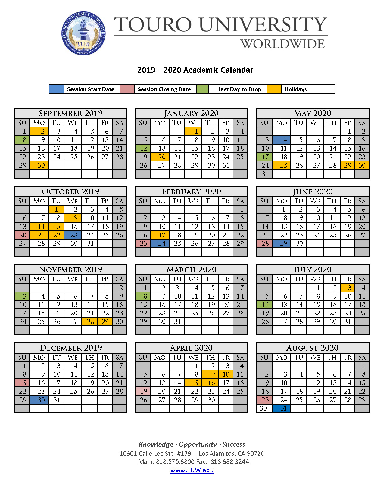 Academic Calendar   Touro University Worldwide With Regard To Del Rio High School Calendar