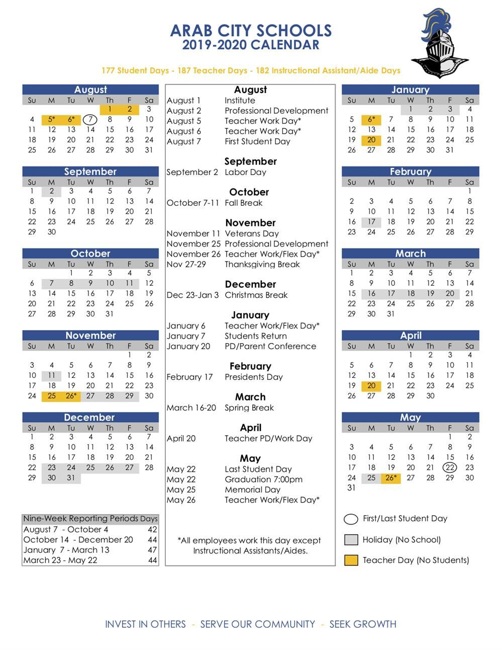Academic Calendars / 2019 20 Acs Calendar Throughout West Orange School District Printale Academic Schoool Schedule