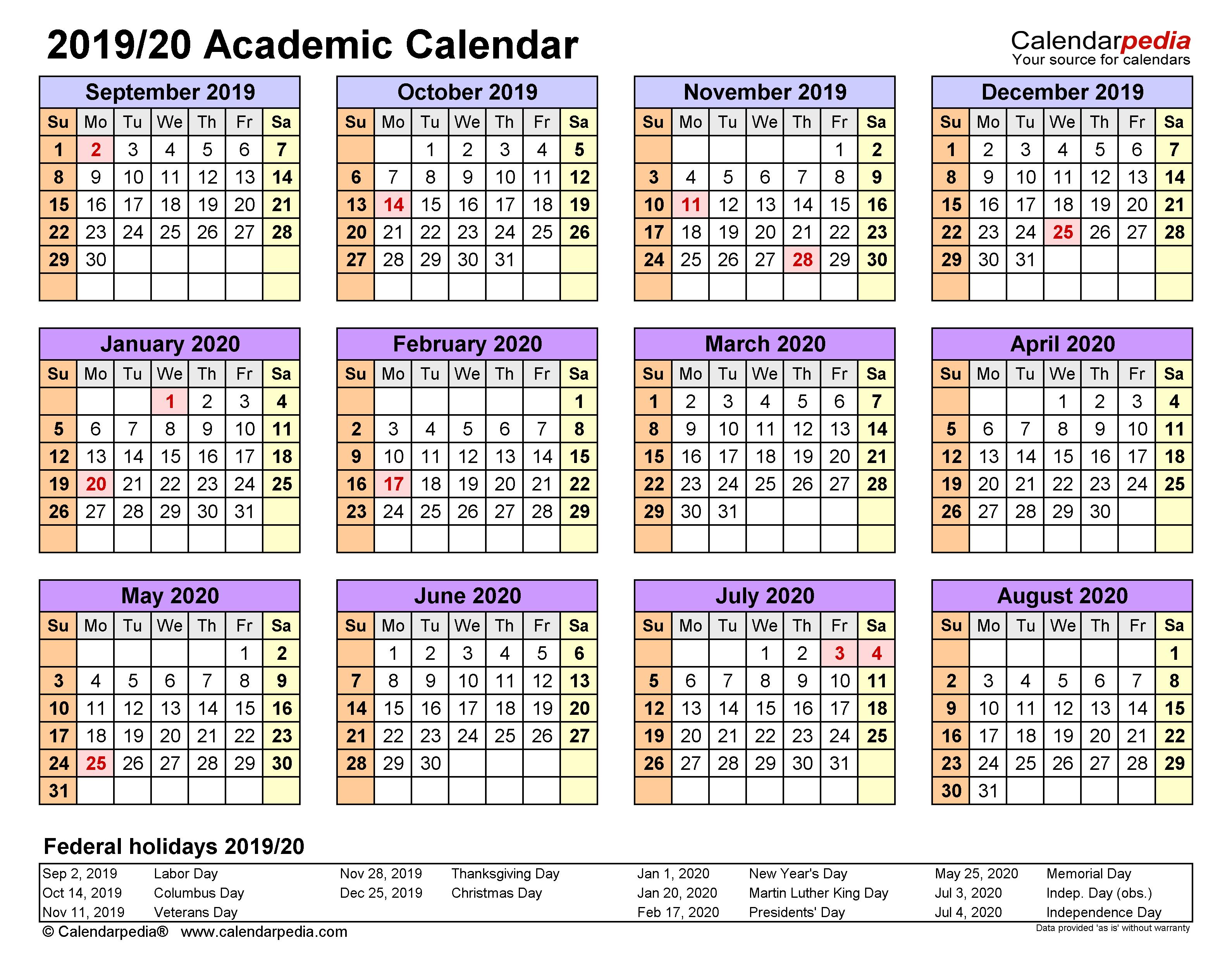 Academic Calendars 2019/2020 - Free Printable Word Templates In Iowa State University Spring Semester Printable Calendar