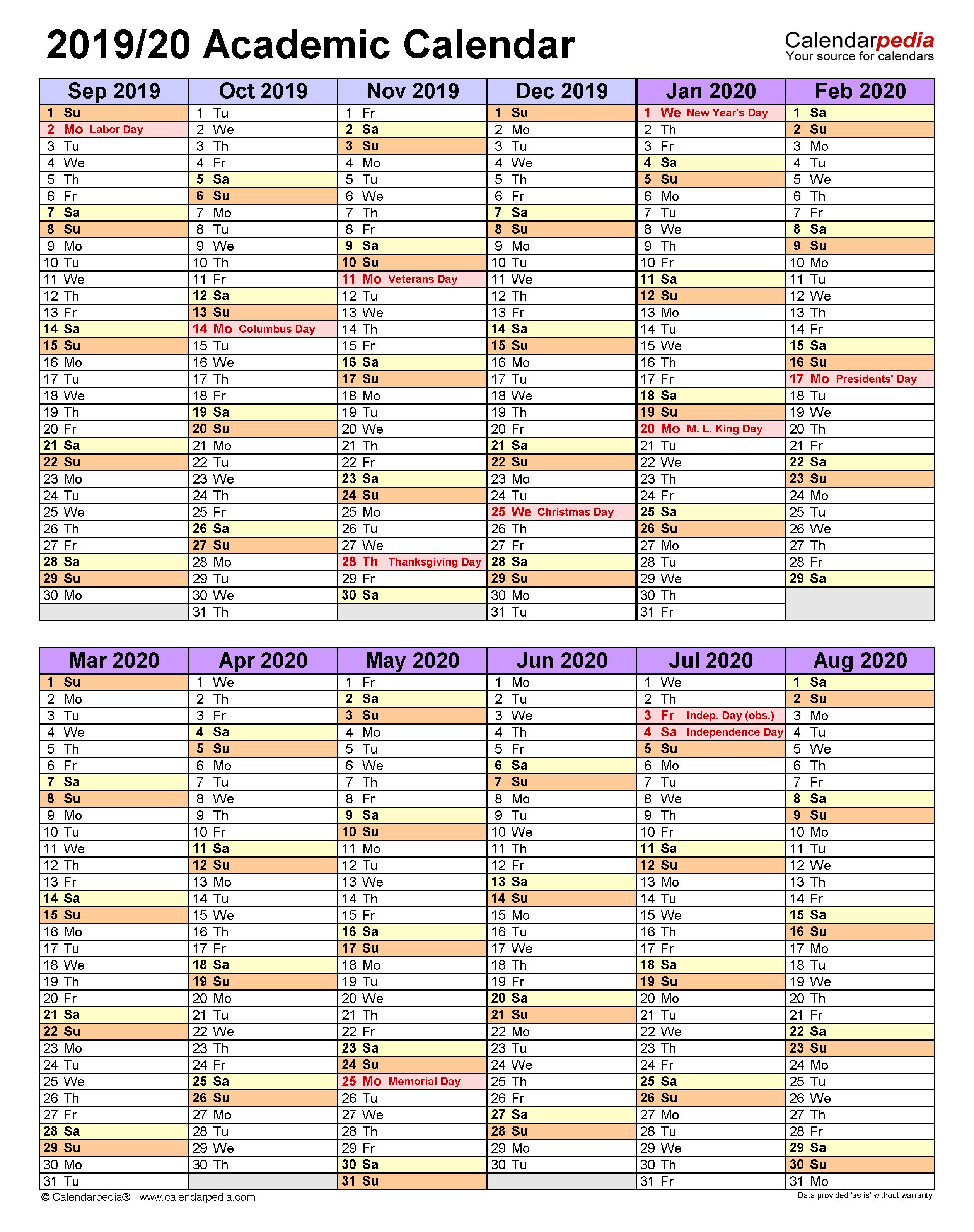 Academic Calendars 2019/2020 – Free Printable Word Templates Inside Iowa State University Spring Semester Printable Calendar